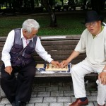Two lovely gentlemen playing a game in Hiroshima in the park