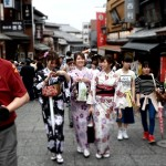 Three tourist girls walking the Higashiyama district