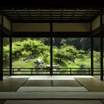 A view from a Japanese Tea House while travelling Shikoku (Ritsuren Park in Kagawa)