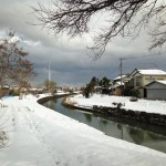 On the way to the supermarket in winter in Niigata