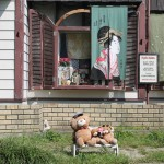 Teddys spotted sunning themselves in the late summer sun outside some old shops along the Philosophers' Walk in Kyoto